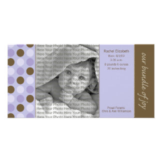 8x4 Birth Announcement Purple and Brown Polka Dots Card