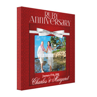 8x8-inch 40th Ruby Wedding Anniversary Red Damask Canvas Print