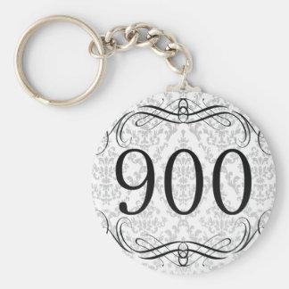 900 Area Code Basic Round Button Keychain