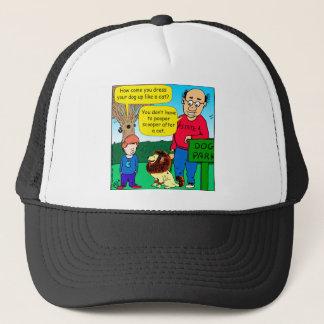 901 Why is dog dressed like a cat cartoon Trucker Hat