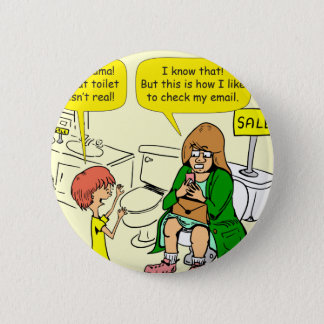 903 Grandma is checking email cartoon 2 Inch Round Button