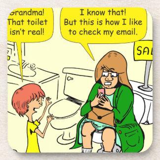 903 Grandma is checking email cartoon Beverage Coaster