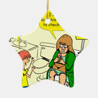 903 Grandma is checking email cartoon Ceramic Star Ornament