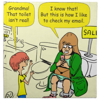 903 Grandma is checking email cartoon Napkin
