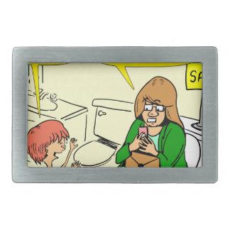 903 Grandma is checking email cartoon Rectangular Belt Buckle