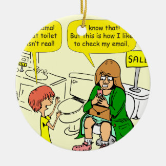 903 Grandma is checking email cartoon Round Ceramic Ornament