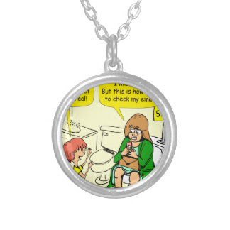 903 Grandma is checking email cartoon Silver Plated Necklace