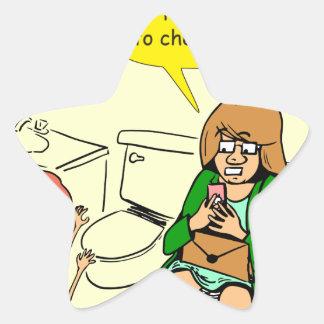 903 Grandma is checking email cartoon Star Sticker