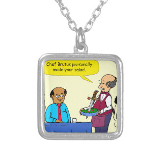 904 Chef Brutus made the salad cartoon Silver Plated Necklace