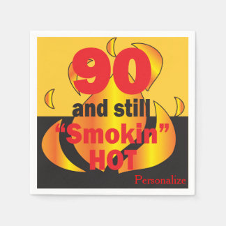 90 and Still Smokin Hot | 90th Birthday Disposable Napkin