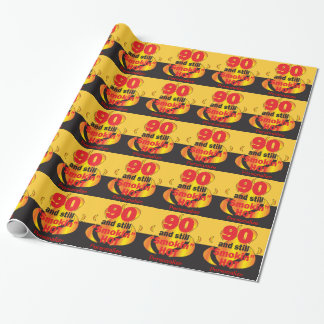 90 and Still Smokin Hot | 90th Birthday Wrapping Paper