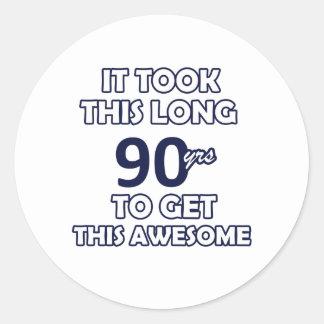 90 birthday design classic round sticker