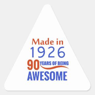 90 birthday design triangle sticker