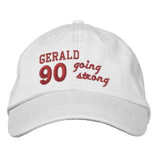 90 Birthday Going Strong WHITE and RED V01F5 Embroidered Hat