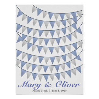 90 Bunting Blue Wedding Guest Book Poster