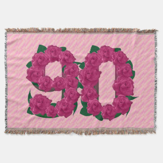 90 cute pink rose flowers 90th birthday blanket throw blanket