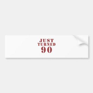 90 Just Turned Birthday Bumper Sticker