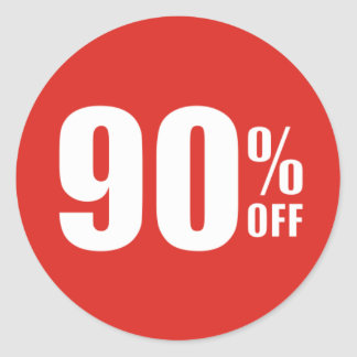 90% Ninety Percent OFF Discount Sale Sticker