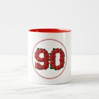90 Number 90th Birthday Anniversary red mug