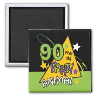 90 Year Old Party Animal   90th Birthday Square Magnet