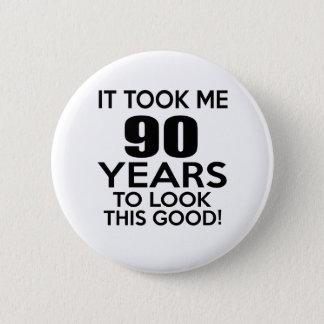 90 years birthday designs 2 inch round button