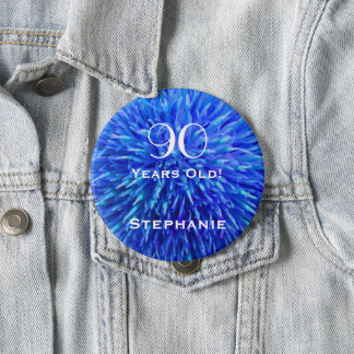 90 Years Old Personalized Blue Abstract Button Pin
