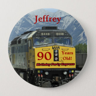 90 Years Old, Railroad Train Birthday Button Pin