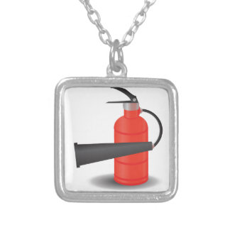 90Fire Extinguisher_rasterized Silver Plated Necklace