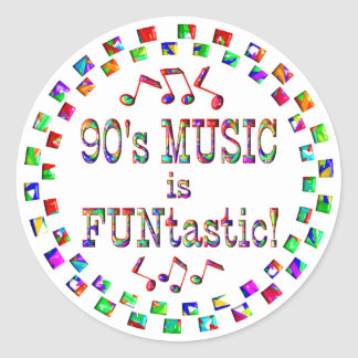 90s Music is FUNtastic Classic Round Sticker