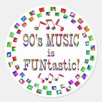 90s Music is FUNtastic Round Sticker