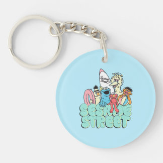 90's Sesame Street Vintage Surf Double-Sided Round Acrylic Keychain