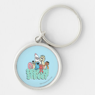 90's Sesame Street Vintage Surf Silver-Colored Round Keychain