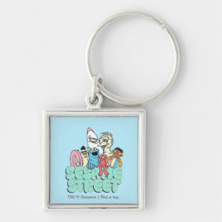 90's Sesame Street Vintage Surf Silver-Colored Square Keychain