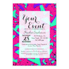 90s Teal and Pink Abstract Geometric Pattern Card