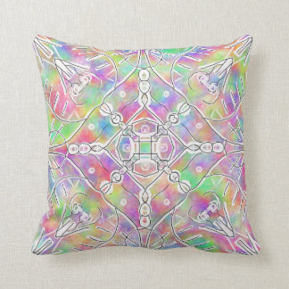 90s tribal pattern rainbow ombre tie dye pillow
