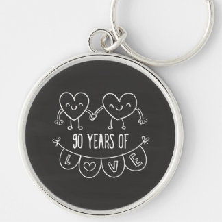 90th Anniversary Gift Chalk Hearts Silver-Colored Round Keychain