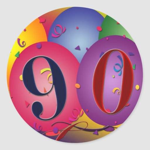 90th Birthday balloon stickers
