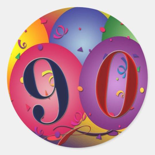 90th Birthday balloon stickers