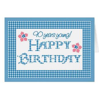 90th Birthday, Blue Check Gingham Pattern Card