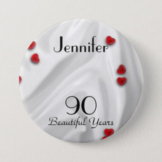 90th Birthday Button / Pin, Small Red Hearts