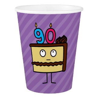 90th Birthday Cake with Candles Paper Cup