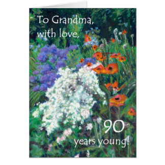 90th Birthday Card for a Grandmother - June Garden