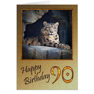 90th Birthday Card with a snow leopard