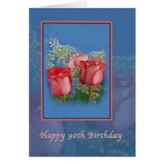 90th Birthday Card with Red Roses