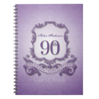 90th Birthday Celebration Custom Framed Guest Book Notebooks
