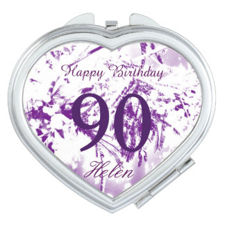 90th Birthday Celebration Flowers Personalized Vanity Mirrors