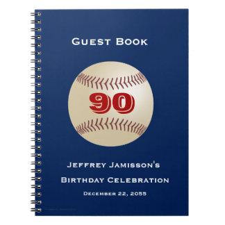 90th Birthday Celebration Guest Book Baseball Note Books