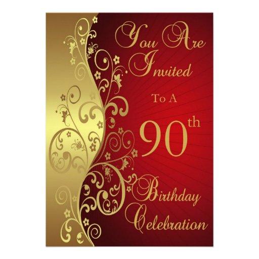 90th birthday celebration personalized invitation zazzle for Zazzle custom t shirts