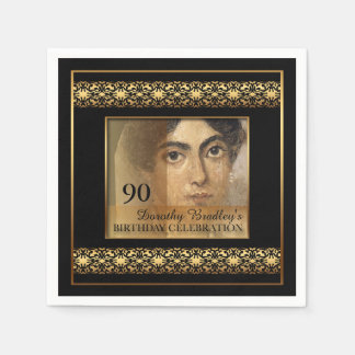 90th Birthday Celebration Photo Paper Napkins