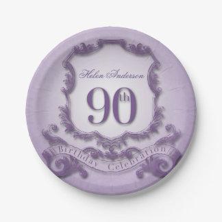 90th Birthday Celebration Vintage Frame Paper Plate